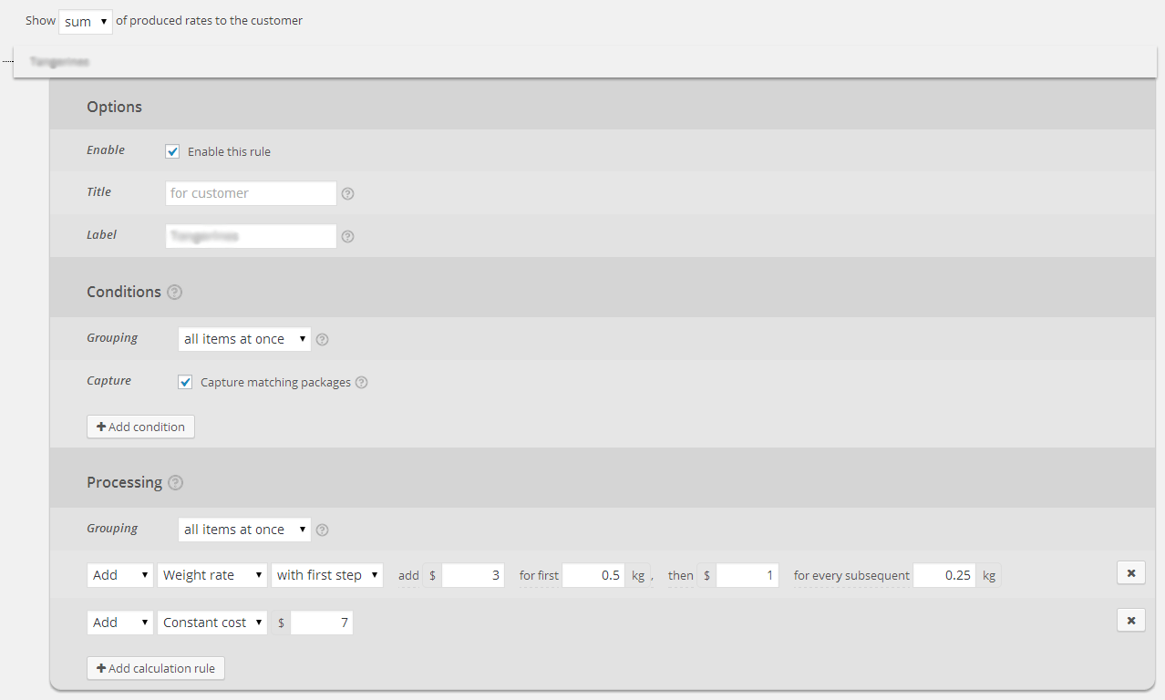 Simple shipping configuration
