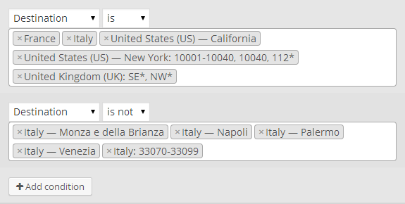 Shipping by country, state and zipcodes/postcodes