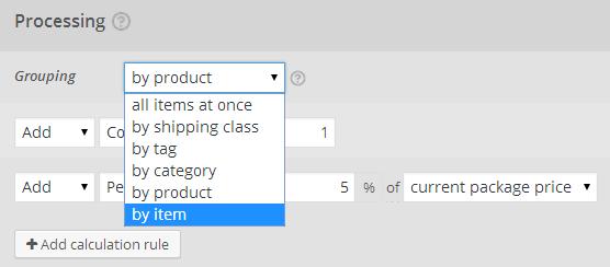 Shipping per order, per item, per product, etc