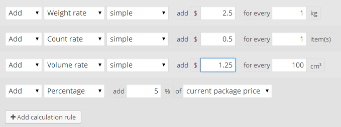 Shipping by weight, volume and count
